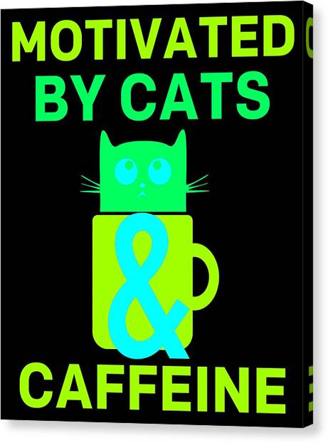 Ocicats Canvas Print - Motivated By Cats Caffeine Colorful by Kaylin Watchorn
