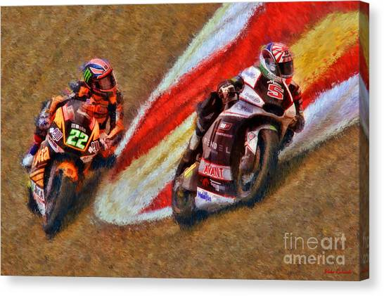 Moto2 Johann Zarco Leads Sam Lowes Canvas Print