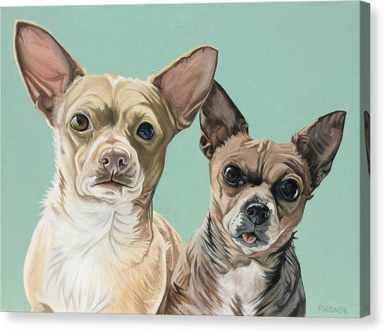 Canvas Print featuring the painting Moto And Rocko by Nathan Rhoads