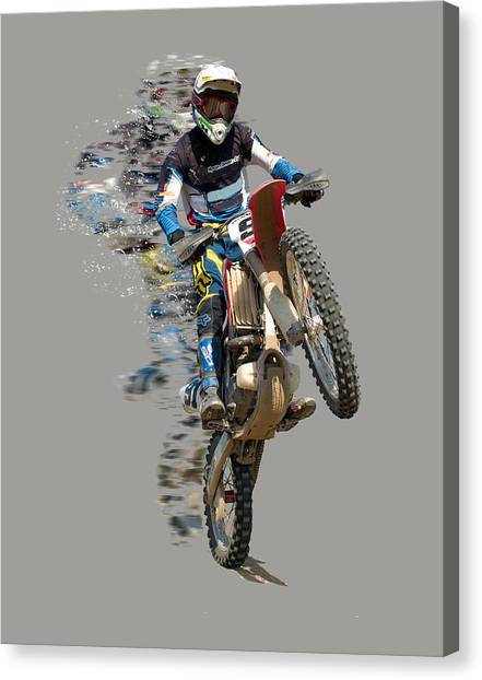 Dirt Bikes Canvas Print - Motocross Rider With Flying Pieces by Elaine Plesser