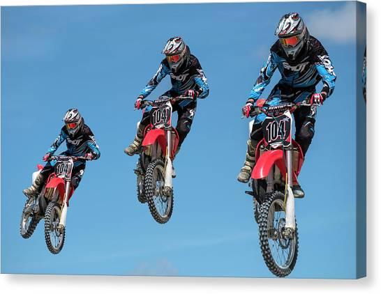 Dirt Bikes Canvas Print - Motocross Riders by Michael Mogensen