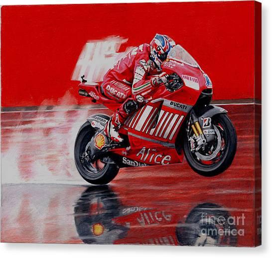 Pencil Drawing Motorcycle Canvas Print - motoGP alice ducati by Raoul Alburg