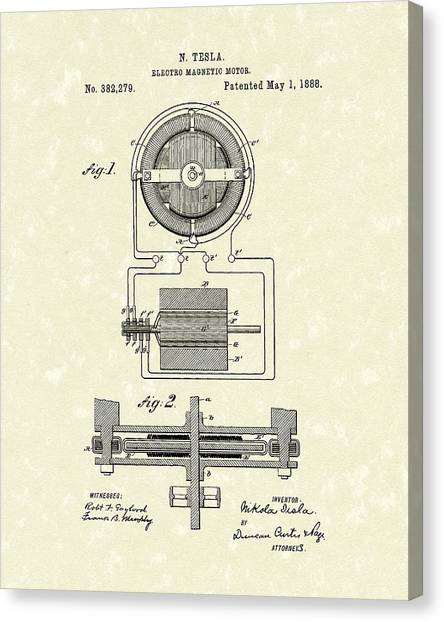 Motor 1888 Patent Art Canvas Print