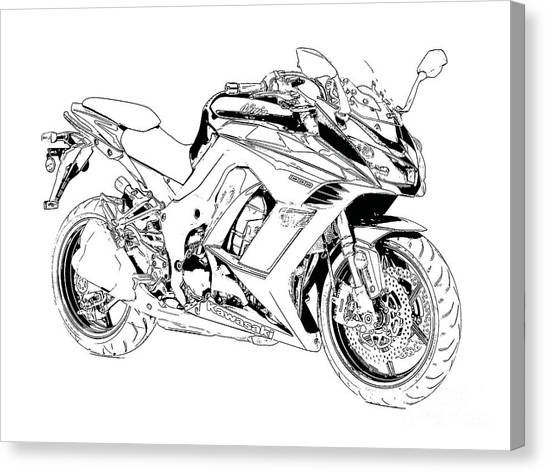 Suzuki Canvas Print - Motorcycle Art, Black And White by Drawspots Illustrations