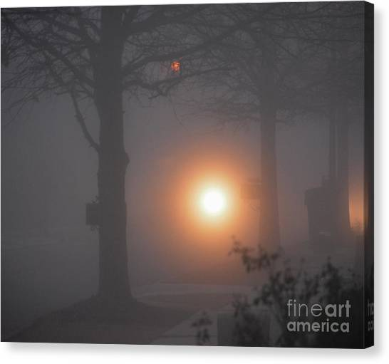 Motorcycle In The Fog In Loganville Georgia Canvas Print