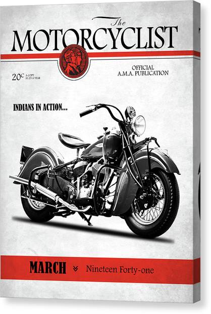 Motorcyclist Canvas Print - Motorcycle Magazine Indian Chief 1941 by Mark Rogan