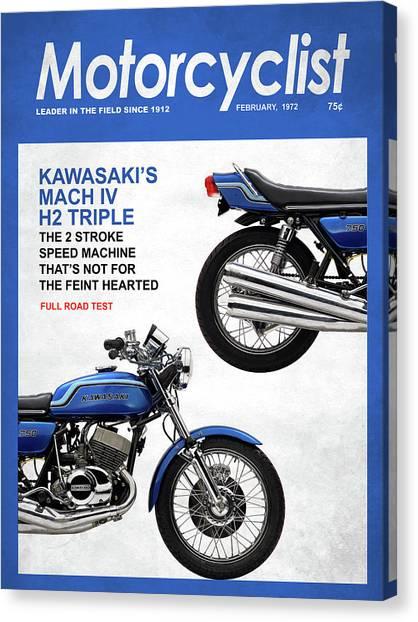 Motorcyclist Canvas Print - Motorcycle Magazine Kawasaki H2 1972 by Mark Rogan