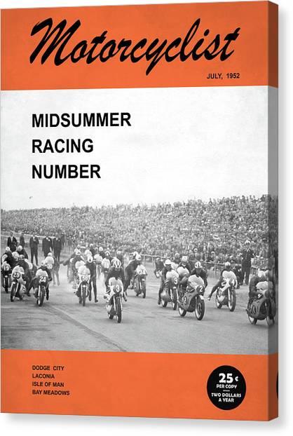 Motorcyclist Canvas Print - Motorcycle Magazine Midsummer Racing 1952 by Mark Rogan