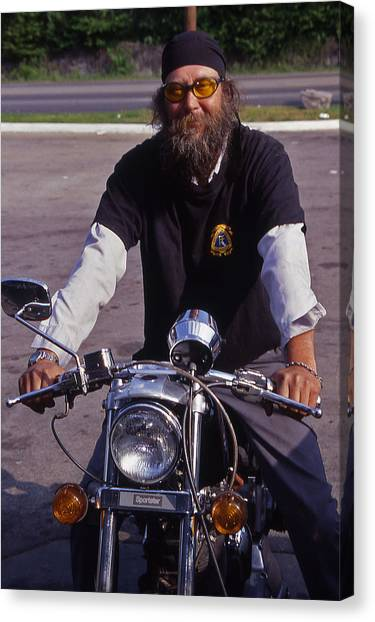 Motorcycle Minister Canvas Print by Randy Muir