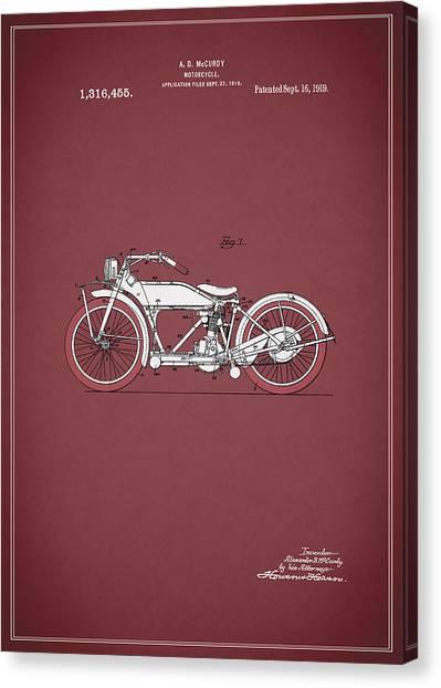 Harley Davidson Patent Canvas Print - Motorcycle Patent 1919 by Mark Rogan