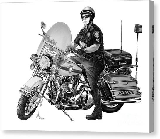 Pencil Drawing Motorcycle Canvas Print - Motorcycle Police Officer by Murphy Elliott