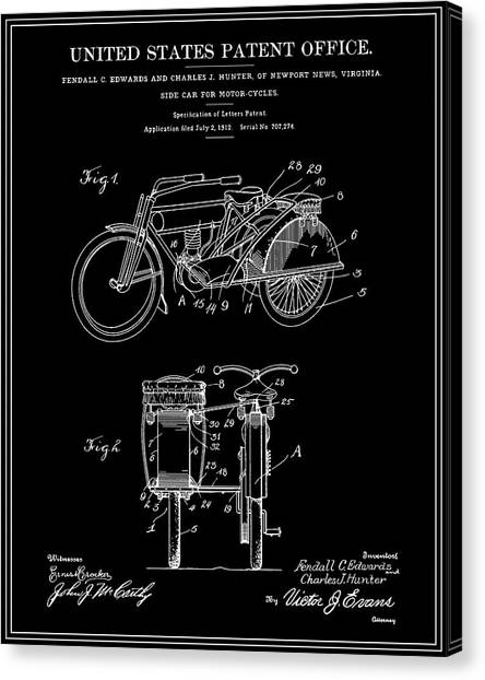 Motorcycle Sidecar Patent 1912 - Black Canvas Print by Finlay McNevin
