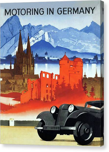 Motoring Canvas Print - Motoring In Germany, Vintage Travel Poster by Long Shot
