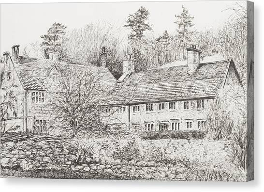 Pen And Ink Drawing Canvas Print - Mottistone Hall  Isle Of Wight by Vincent Alexander Booth