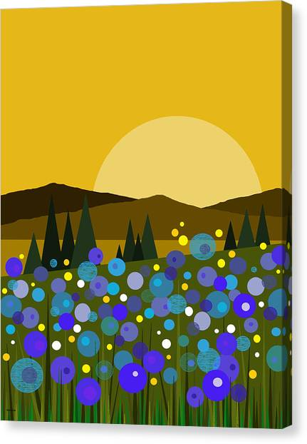 Mountain Meadow Sunrise And  Bluebells Canvas Print