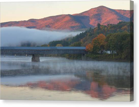 Mount Ascutney And Windsor Cornish Bridge Sunrise Fog Canvas Print