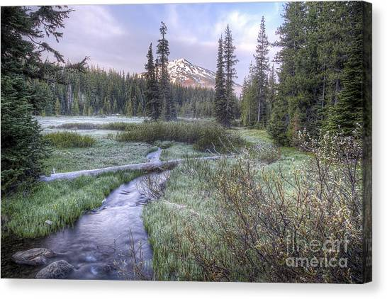 Bachelor Canvas Print - Mount Bachelor From Soda Creek At Sunrise by Twenty Two North Photography