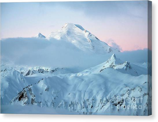 Table Mountain Canvas Print - Mount Baker Fresh Snow Dawn by Mike Reid