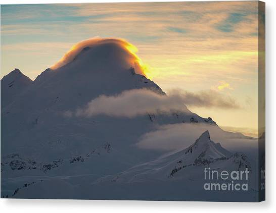 Table Mountain Canvas Print - Mount Baker Lenticular Cloud Sunset Light by Mike Reid