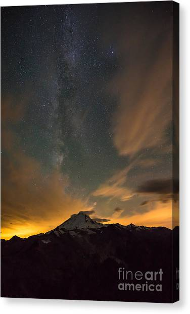 Cloud Forests Canvas Print - Mount Baker Milky Way Around Midnight by Mike Reid
