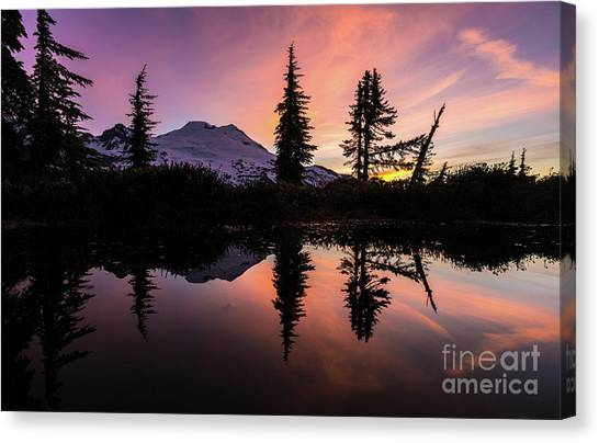 Table Mountain Canvas Print - Mount Baker Sunrise Reflection by Mike Reid