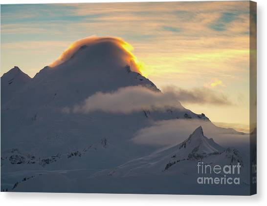 Table Mountain Canvas Print - Mount Baker Sunset Lenticular Fire by Mike Reid