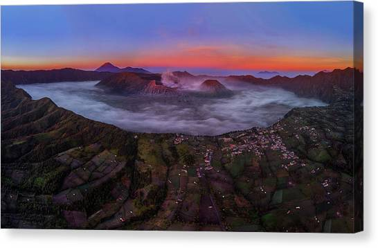 Canvas Print featuring the photograph Mount Bromo Misty Sunrise by Pradeep Raja Prints