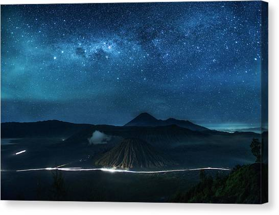 Canvas Print featuring the photograph Mount Bromo Resting Under Million Stars by Pradeep Raja Prints