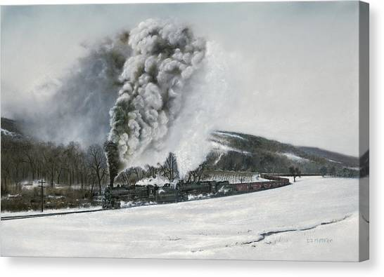 Trains Canvas Print - Mount Carmel Eruption by David Mittner