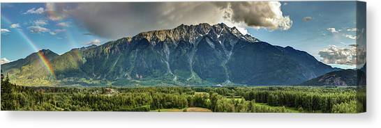 Canvas Print featuring the photograph Mount Currie In The Enchanting Pemberton Valley With Double Rainbow by Pierre Leclerc Photography