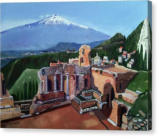 Mount Etna And Greek Theater In Taormina Sicily Canvas Print