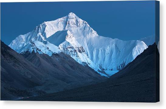 Mount Everest At Blue Hour, Rongbuk, 2007 Canvas Print