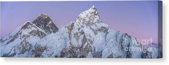 K2 Canvas Print - Mount Everest Lhotse And Ama Dablam Just After Sunset Panorama by Mike Reid