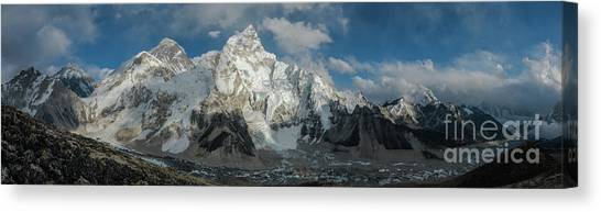 K2 Canvas Print - Mount Everest Lhotse And Ama Dablam Panorama by Mike Reid
