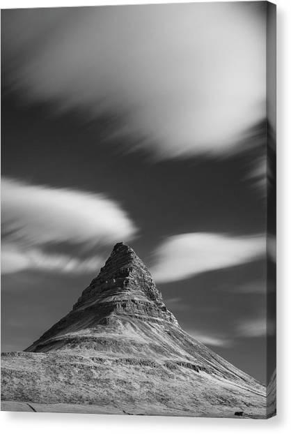 Mount Kirkjufell In Iceland Under The Sky Canvas Print