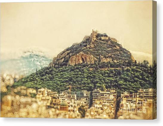 The Acropolis Canvas Print - Mount Lycabettus by HD Connelly