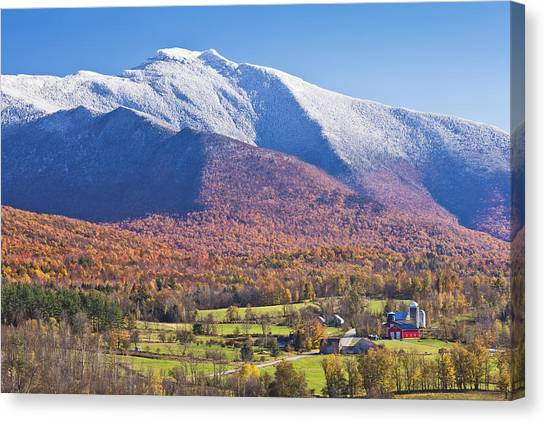 Mount Mansfield Autumn Snowfall Canvas Print