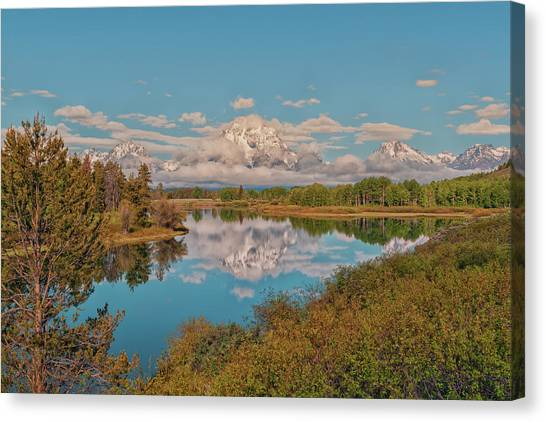 Wy Canvas Print - Mount Moran On Oxbow Bend by Brian Harig
