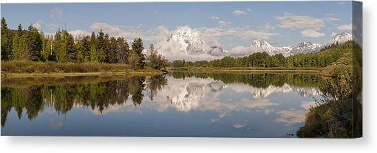 Teton Canvas Print - Mount Moran On Oxbow Bend Panorama by Brian Harig