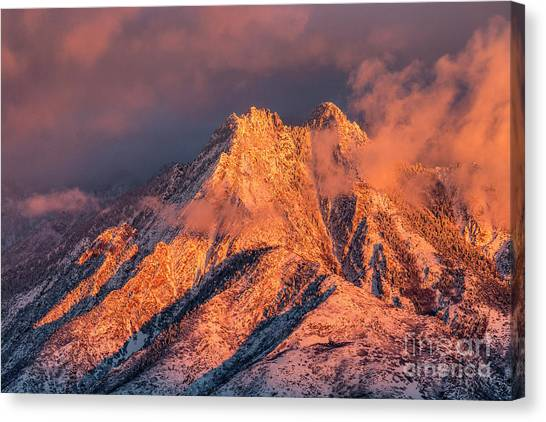Canvas Print featuring the photograph Mount Olympus Winter Sunset by Spencer Baugh