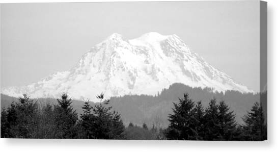 Mount Rainier Black And White Canvas Print by Laurie Kidd