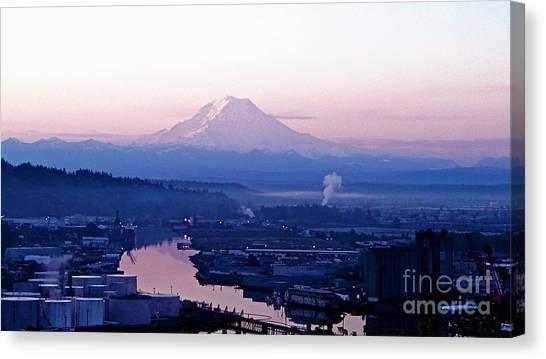 Mount Rainier Dawn Above Port Of Tacoma Canvas Print