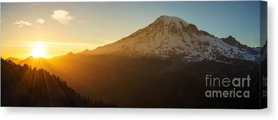 Mount Rainier Canvas Print - Mount Rainier Evening Light Rays by Mike Reid