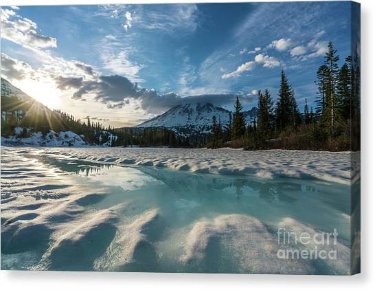 Washington Nationals Canvas Print - Mount Rainier Icy Lake Reflection by Mike Reid