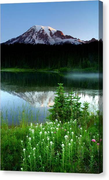 Mount Rainier Reflections Canvas Print by Eric Foltz