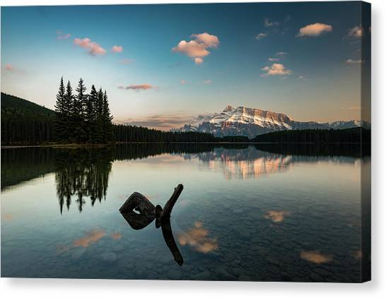 Mount Rundle And Two Jack Lake Canvas Print