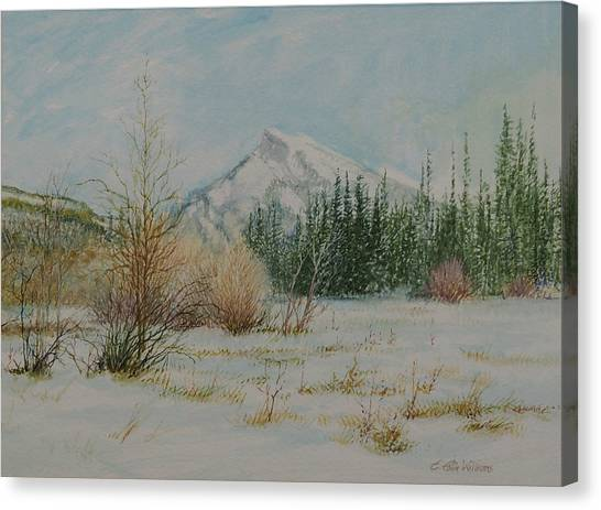 Mount Rundle In Winter Canvas Print