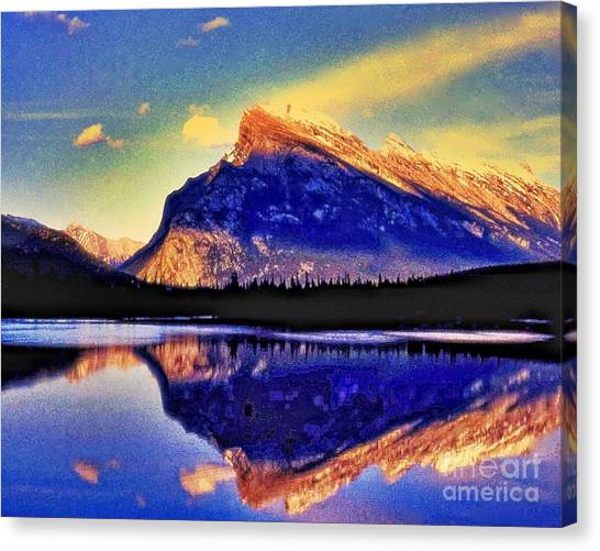 Mount Rundle Reflection Canvas Print by Lyle  Huisken