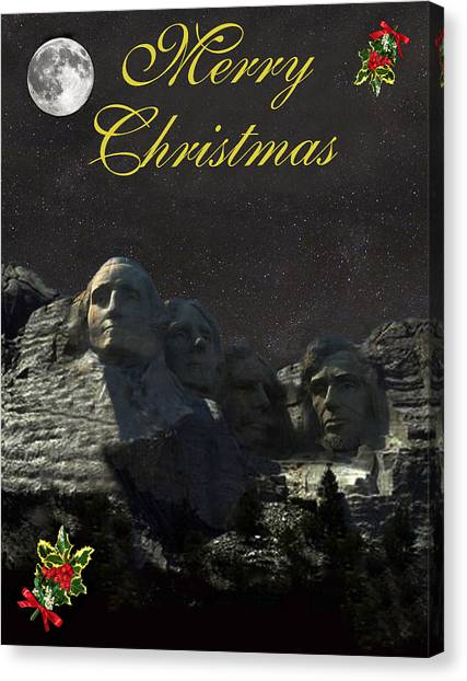 Mount Rushmore Merry Christmas Canvas Print