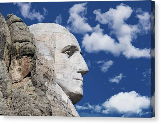Washington Nationals Canvas Print - Mount Rushmore Profile Of George Washington by Tom Mc Nemar